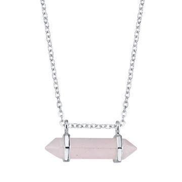Bridge Jewelry Womens Pink Quartz Silver Over Brass Pendant Necklace