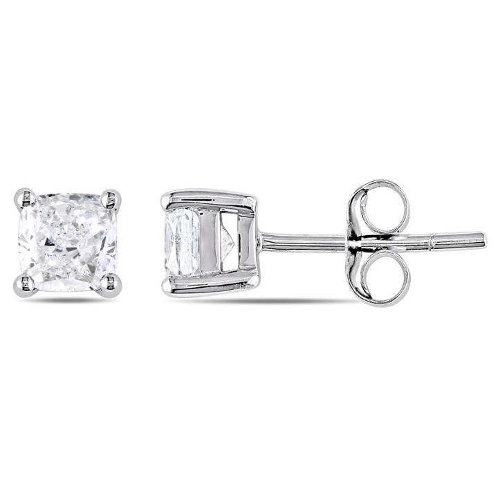 1 Ct. T.w. Cushion White Diamond 14k Gold Stud Earrings