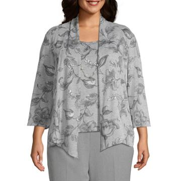 Alfred Dunner Smart Investments Melange Floral Layered Sweater - Plus