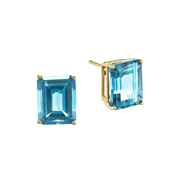 Genuine Swiss Blue 14k Yellow Gold Emerald-cut Stud Earrings