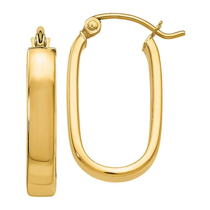 14k Gold 8mm Oval Hoop Earrings