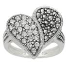 Womens White Crystal Sterling Silver Cocktail Ring