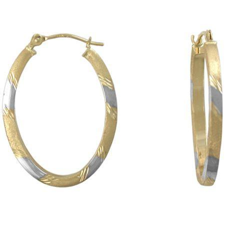 14k Gold Hoop Earrings, Two-tone Oval