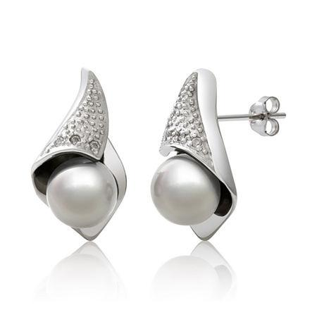 Cultured Freshwater Pearl And Diamond-accent Earrings