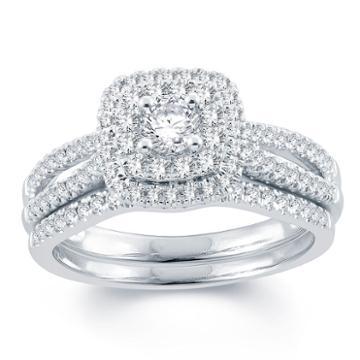 Modern Bride Signature Womens 3/4 Ct. T.w. Genuine Diamond White Bridal Set