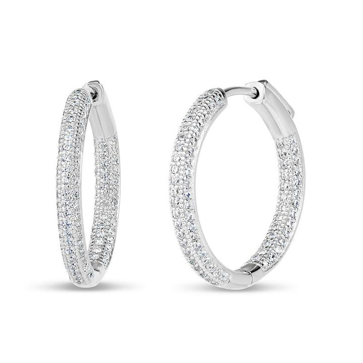 2 Ct. T.w. Lab Created White Cubic Zirconia 24.5mm Curved Hoop Earrings