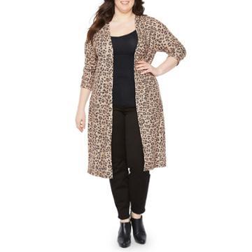 Boutique + Long Sleeve Open Front Leopard Cardigan - Plus