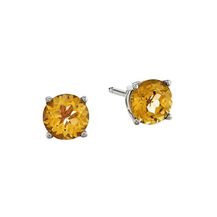 Genuine Yellow Citrine 14k White Gold 5mm Stud Earrings