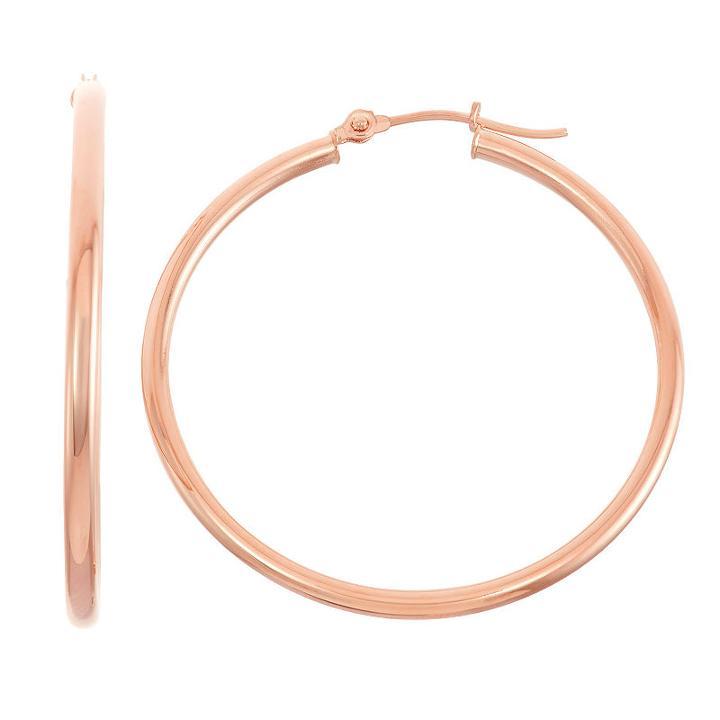 14k Rose Gold 35mm Hoop Earrings
