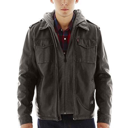 Levi's Hooded Faux-leather Trucker Jacket