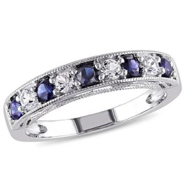 Modern Bride Gemstone Womens Blue Sapphire Sterling Silver Band