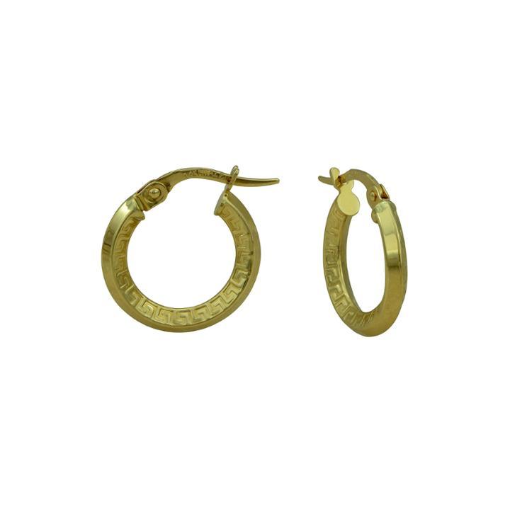 14k Yellow Gold Polished 19mm Greek Key Hoop Earrings