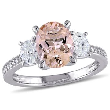 Modern Bride Gemstone Womens Genuine Morganite Pink Engagement Ring