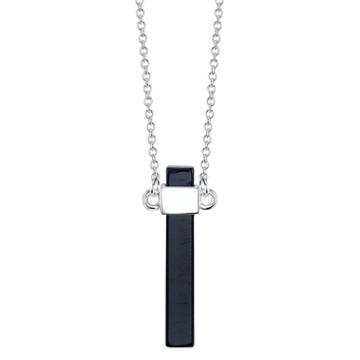 Bridge Jewelry Womens Black Onyx Silver Over Brass Pendant Necklace