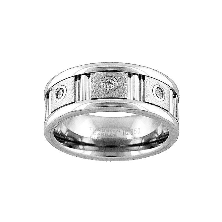 Unisex 1/7 Ct. T.w. Genuine White Diamond Tungsten Wedding Band