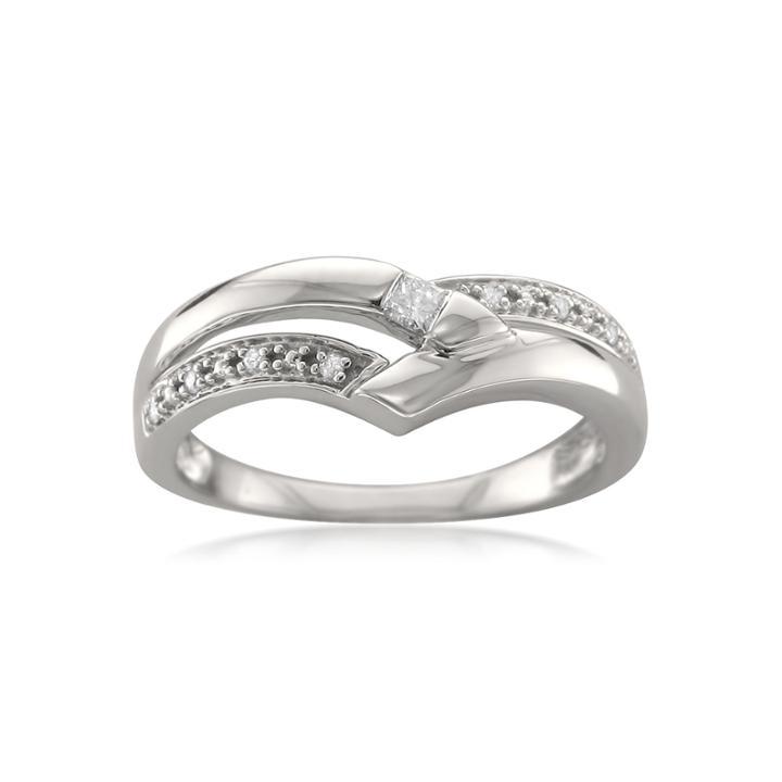 Womens 1/10 Ct. T.w. Genuine White Diamond 14k Gold Wedding Band