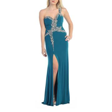 Gorgeous One Shoulder Long Stretchy Pageant Dress