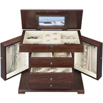 Monet Jewelry Walnut Jewelry Box