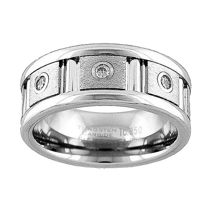 Unisex 1/7 Ct. T.w. White Diamond Tungsten Wedding Band