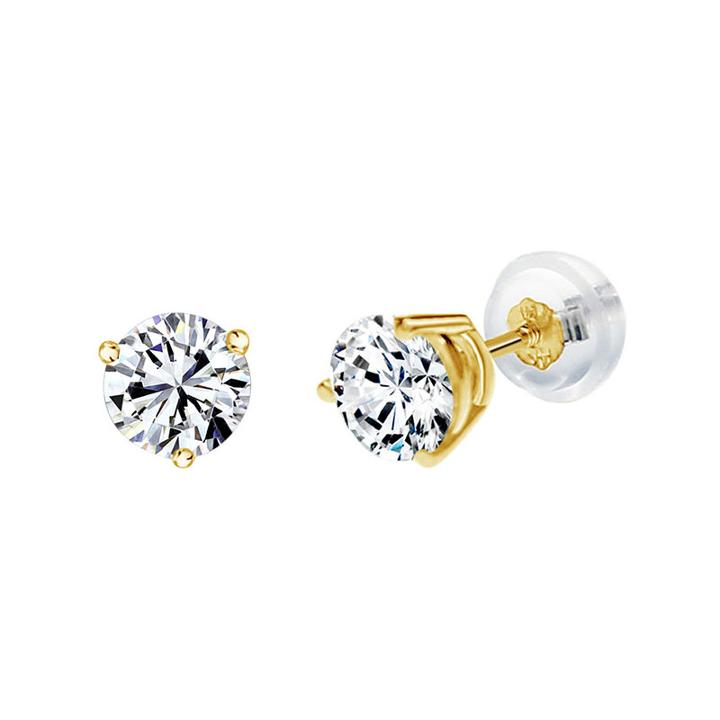 Swarovski 1 Ct. T.w. Round White Zirconia 14k Gold Stud Earrings