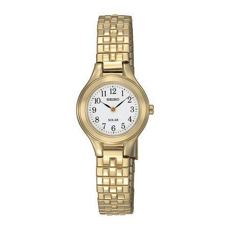 Seiko Womens Gold-tone Stainless Steel Solar Bracelet Watch Sup102