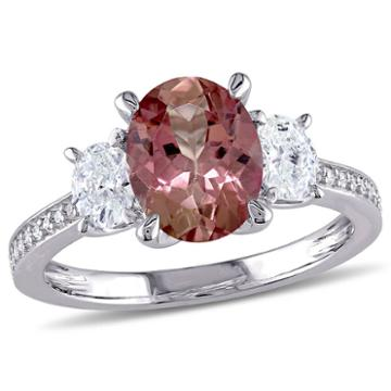 Modern Bride Gemstone Womens Pink Tourmaline 14k Gold Engagement Ring