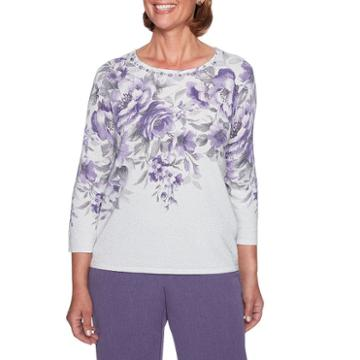 Alfred Dunner Smart Investments 3/4 Sleeve Crew Neck Floral Pullover Sweater