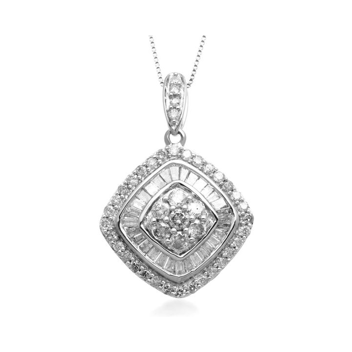 1 Ct. T.w. Diamond 10k White Gold Tilted Pendant Necklace