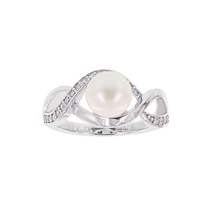 Diamonart Cultured Freshwater Pearl And Cubic Zirconia Sterling Silver Swirl Ring