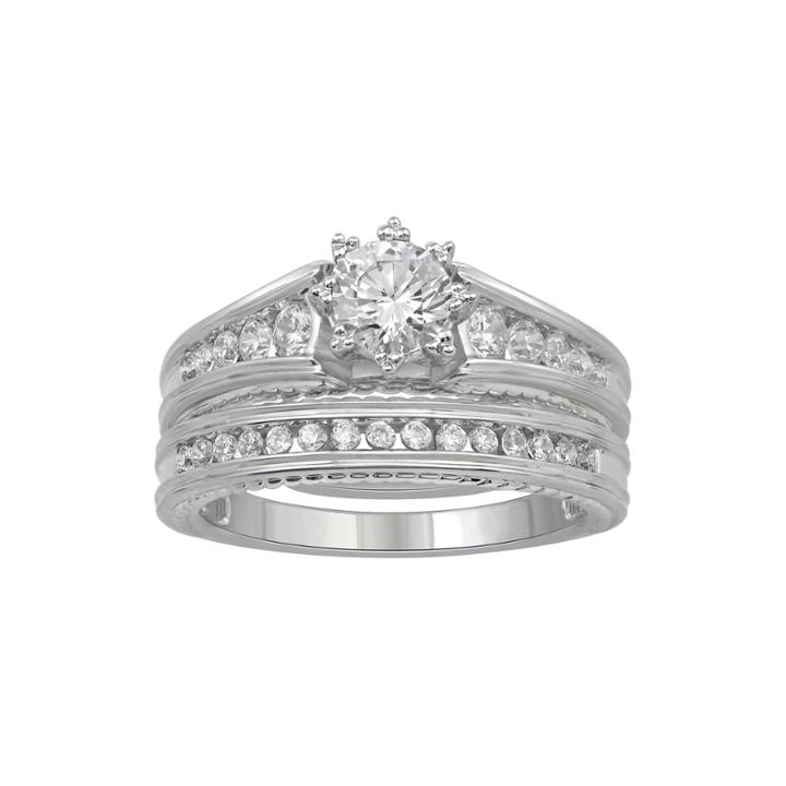 1 Ct. T.w. Diamond 14k White Gold Ring Bridal Ring Set