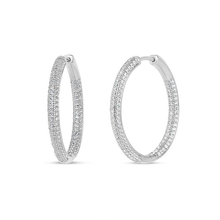 3 1/2 Ct. T.w Lab Created White Cubic Zirconia 30mm Curved Hoop Earrings