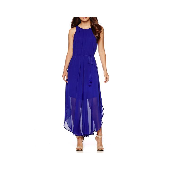 Rebecca B Sleeveless Alternative-hem Chiffon Maxi Dress