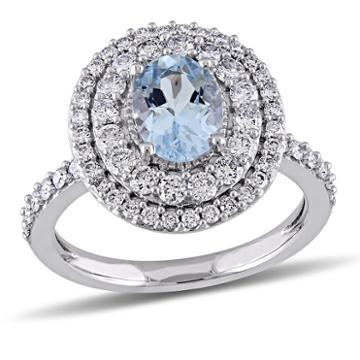 Modern Bride Gemstone Womens Blue Aquamarine 14k Gold Engagement Ring