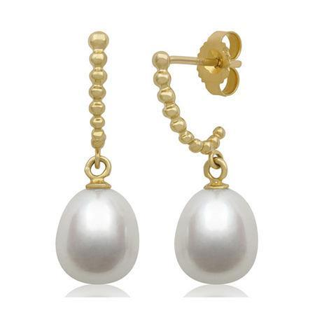 Cultured Freshwater Pearl 14k Yellow Gold Drop Earrings