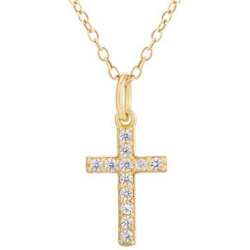 Silver Treasures Womens Clear 14k Gold Over Silver Pendant Necklace