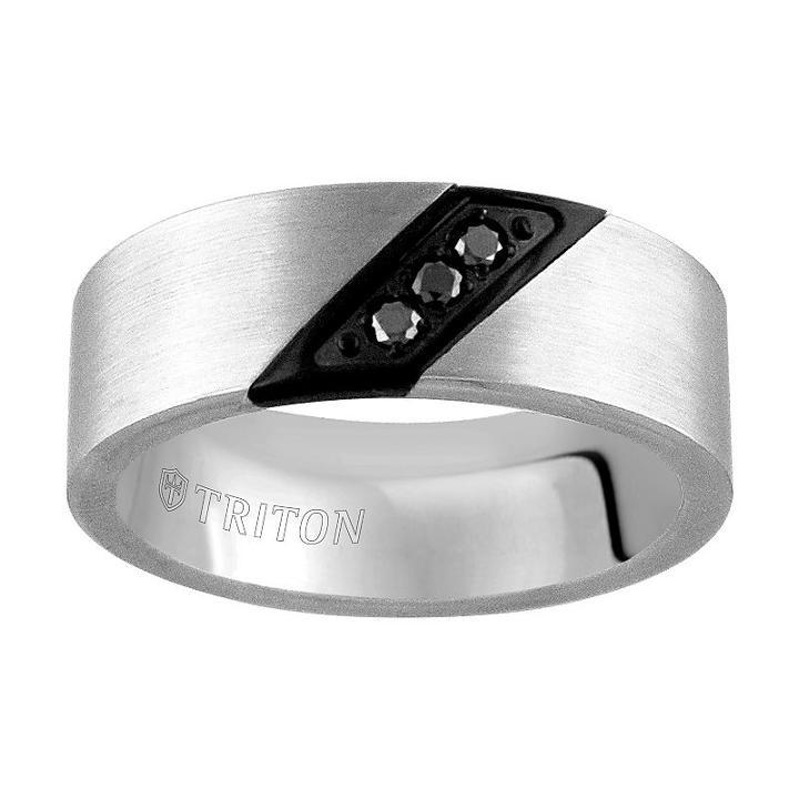 Unisex 1/10 Ct. T.w. Black Diamond Tungsten Wedding Band