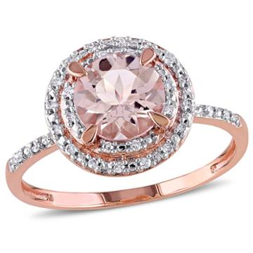 Modern Bride Gemstone Womens Pink Morganite 10k Gold Engagement Ring