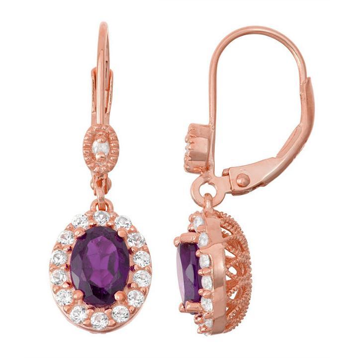 Genuine Purple Amethyst 14k Rose Gold 27.1mm Oval Hoop Earrings