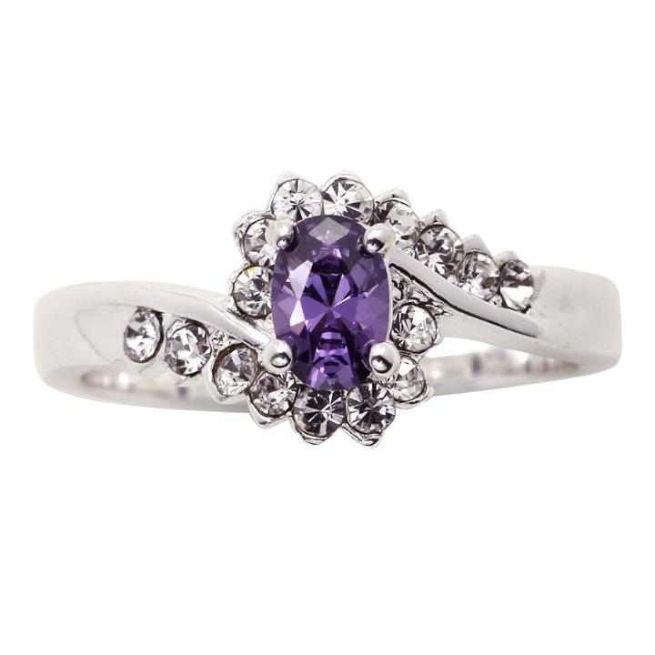 City X City Pure Silver-plated Purple & Clear Crystal Ring