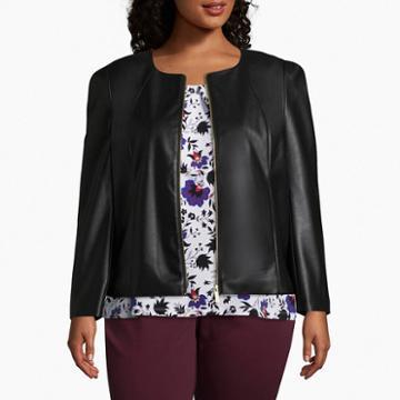 Liz Claiborne Faux Leather Jacket - Plus