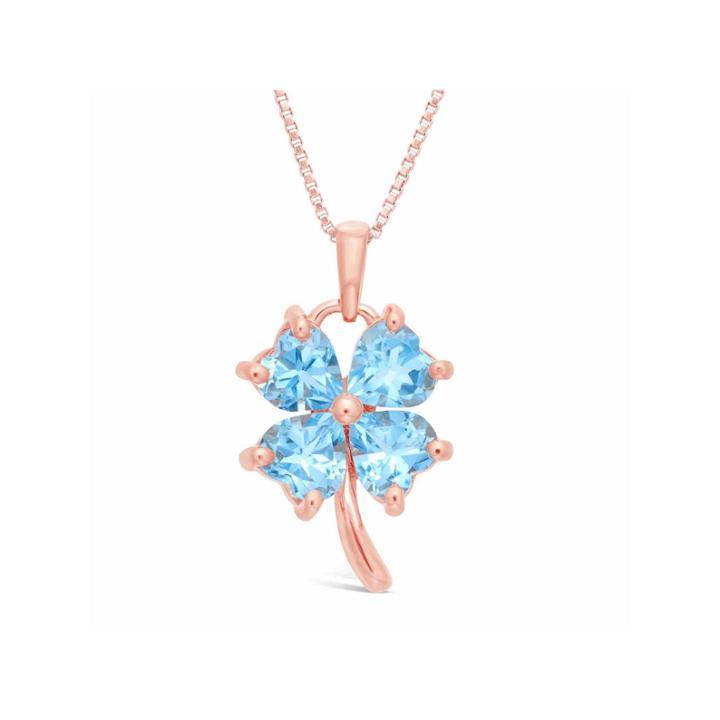 Womens Blue Blue Topaz Pendant Necklace