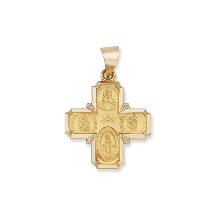 14k Yellow Gold Saints Greek Cross Charm Pendant