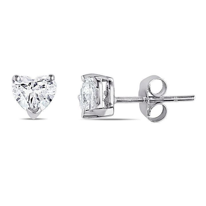 1 Ct. T.w. Heart White Diamond 14k Gold Stud Earrings