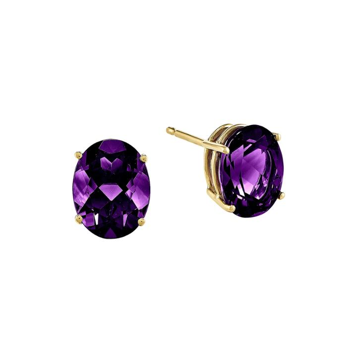 Genuine Amethyst 14k Yellow Gold Oval Earrings
