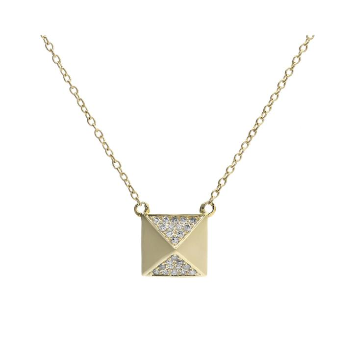 1/10 Ct. T.w. Diamond 10k Yellow Gold Pyramid Necklace