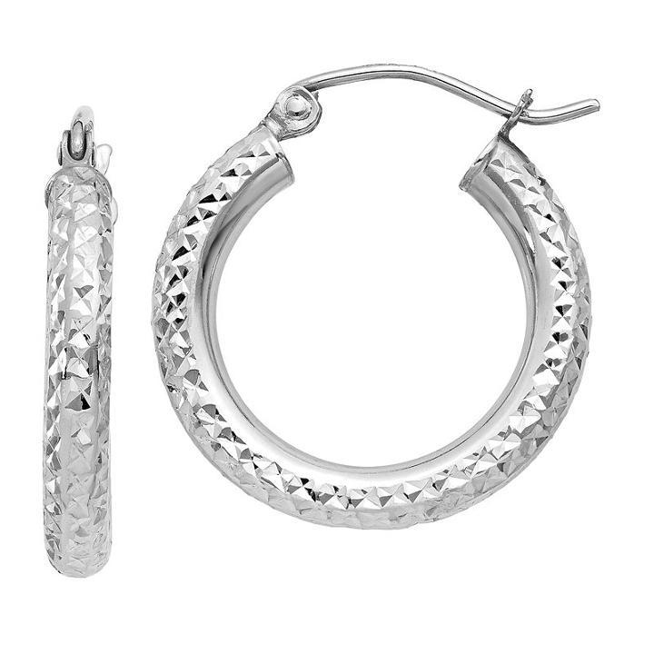 10k White Gold 15mm Round Hoop Earrings
