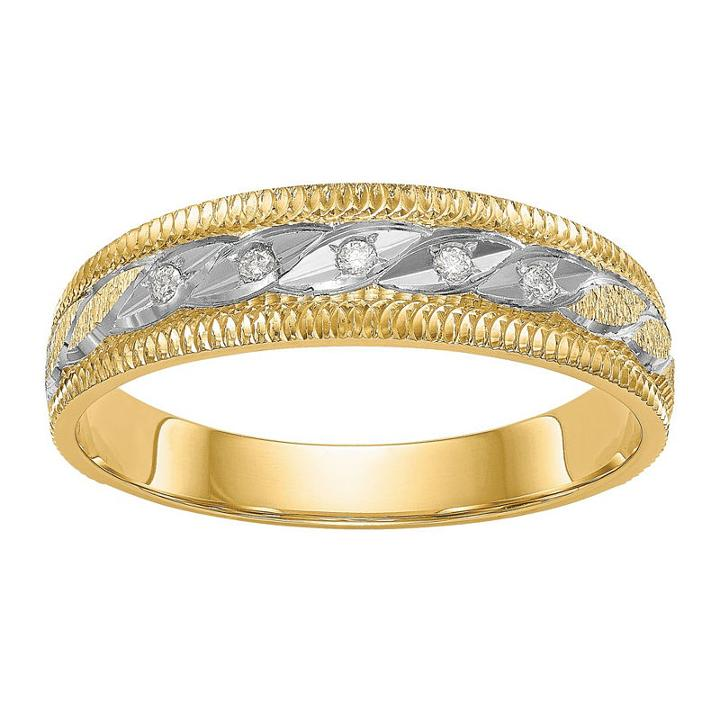 Mens Diamond Accent White Diamond 14k Gold Wedding Band