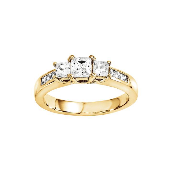 3/8 Ct. T.w. Diamond 14k Yellow Gold 3-stone Ring