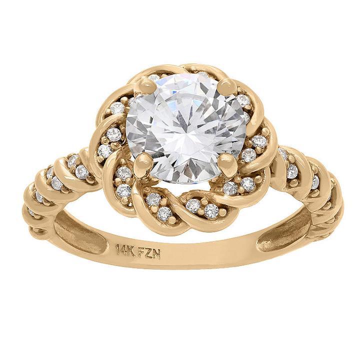 Diamonart Womens 1 1/2 Ct. T.w. Lab Created Cubic Zirconia White Engagement Ring