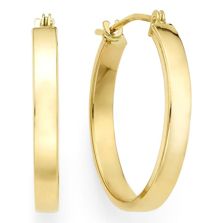 14k Yellow Gold 19.9mm Flat Hoop Earrings